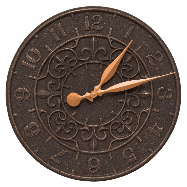 Vine and Fleur 16 inches Indoor Outdoor Wall Clock - Oil Rubbed Bronze