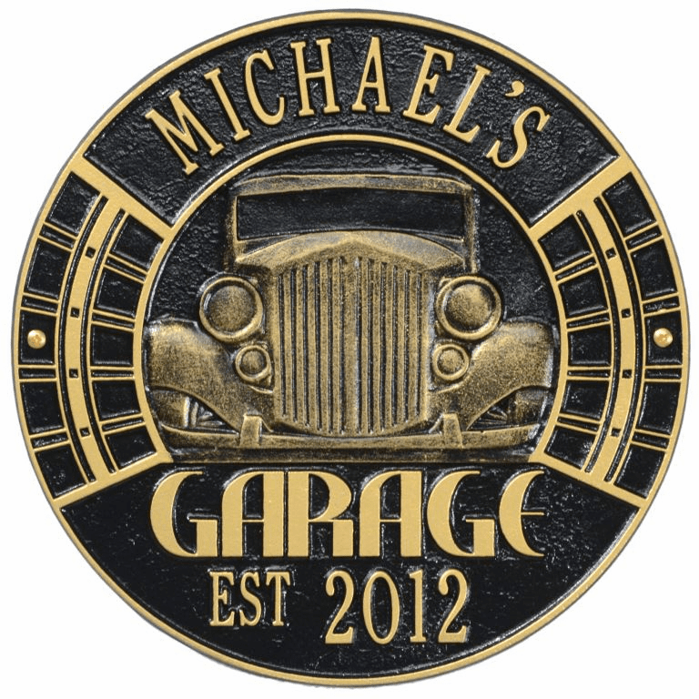 Vintage Car Garage Standard Wall Two Line Plaque in Black and Gold