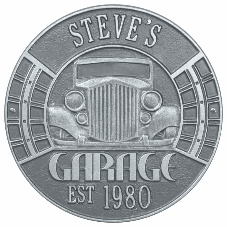 Vintage Car Garage Standard Wall Two Line Plaque in Pewter and Silver