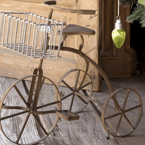 Vintage Style Tricycle with Basket Planter