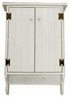 Wall Cupboard with Solid Doors - Wood Storage Cabinet