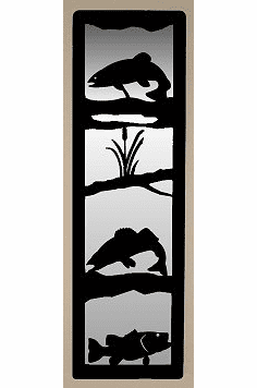 Walleye, Bass and Trout Large Accent Mirror Wall Art