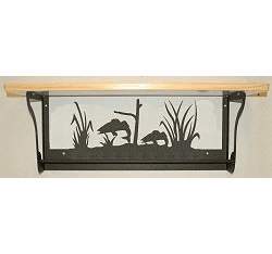 Walleye Rustic Towel Bar with Shelf