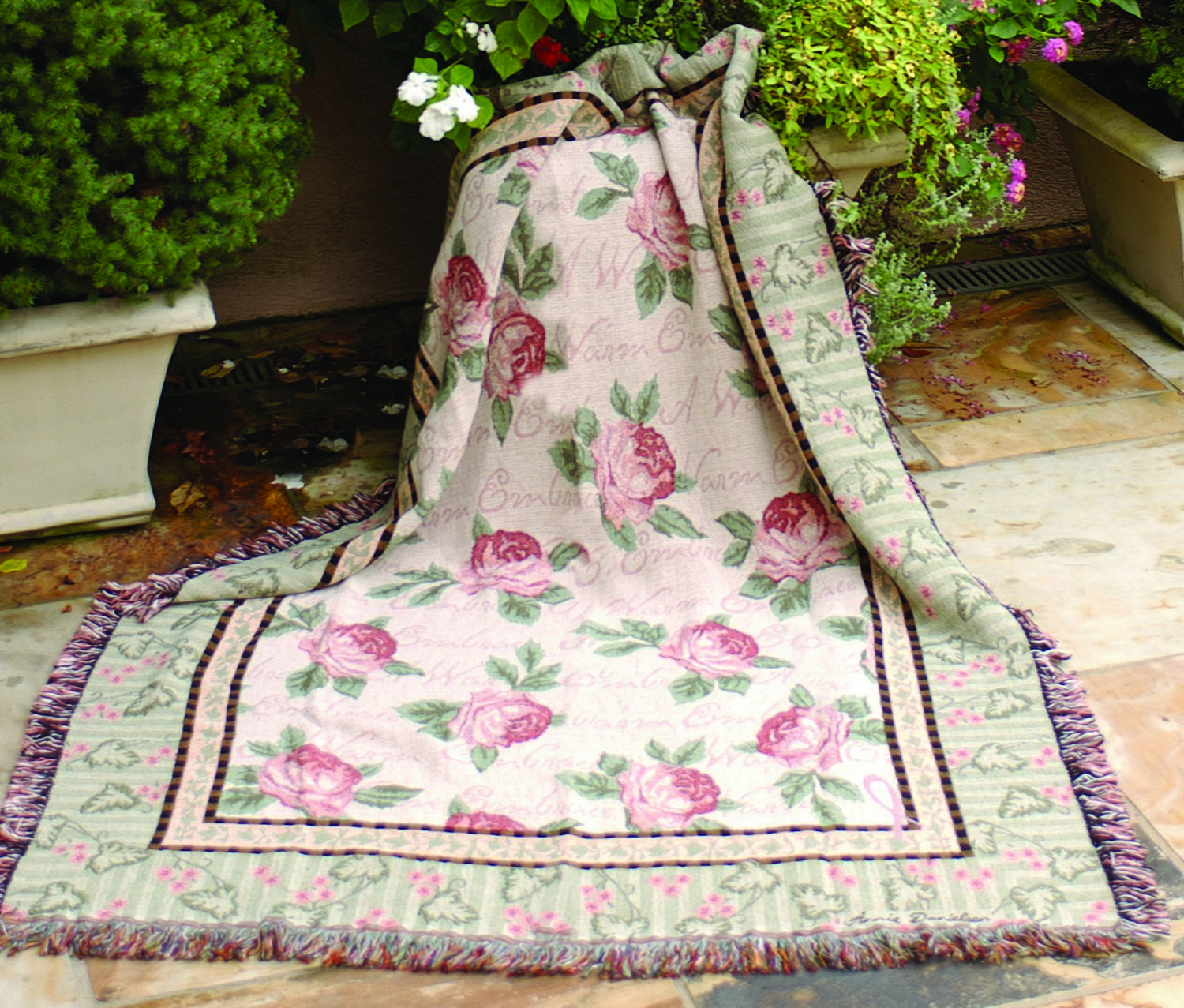 Warm Embrace of Roses Tapestry Throw