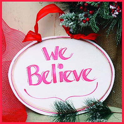 We Believe Merry Christmas Wall Hanging, 12 inch oval