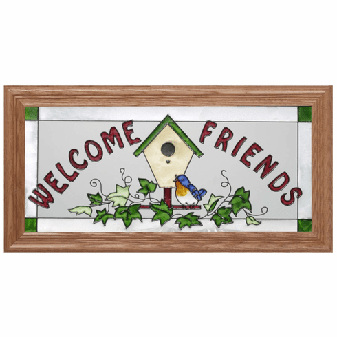 �Welcome� in Bird and Birdhouse Motif Stained Glass Art Glass