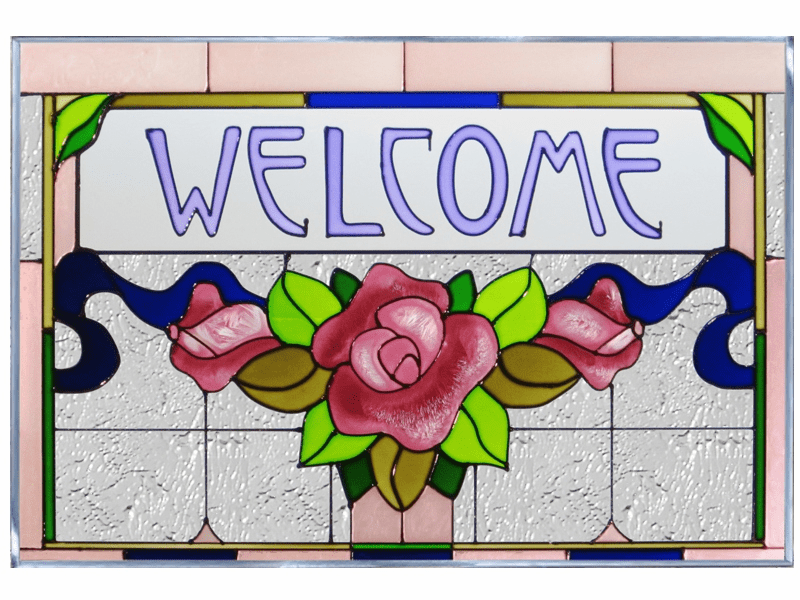 �Welcome� in Floral Motif I Stained Glass Art Glass