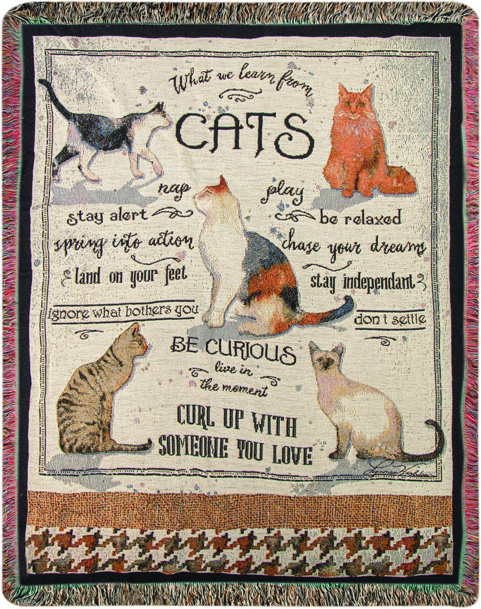 What We Learn From Cats Tapestry Throw