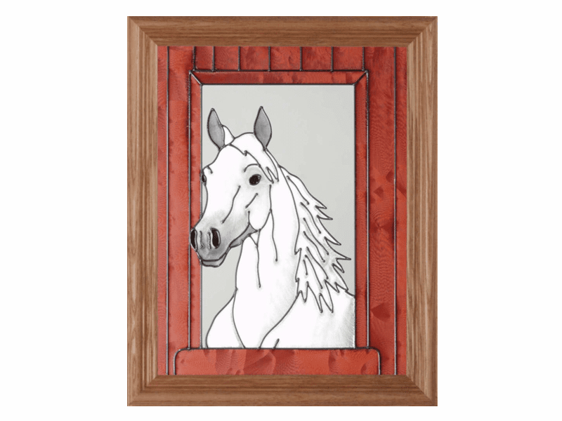 White Horse Portrait Stained Glass Art Glass