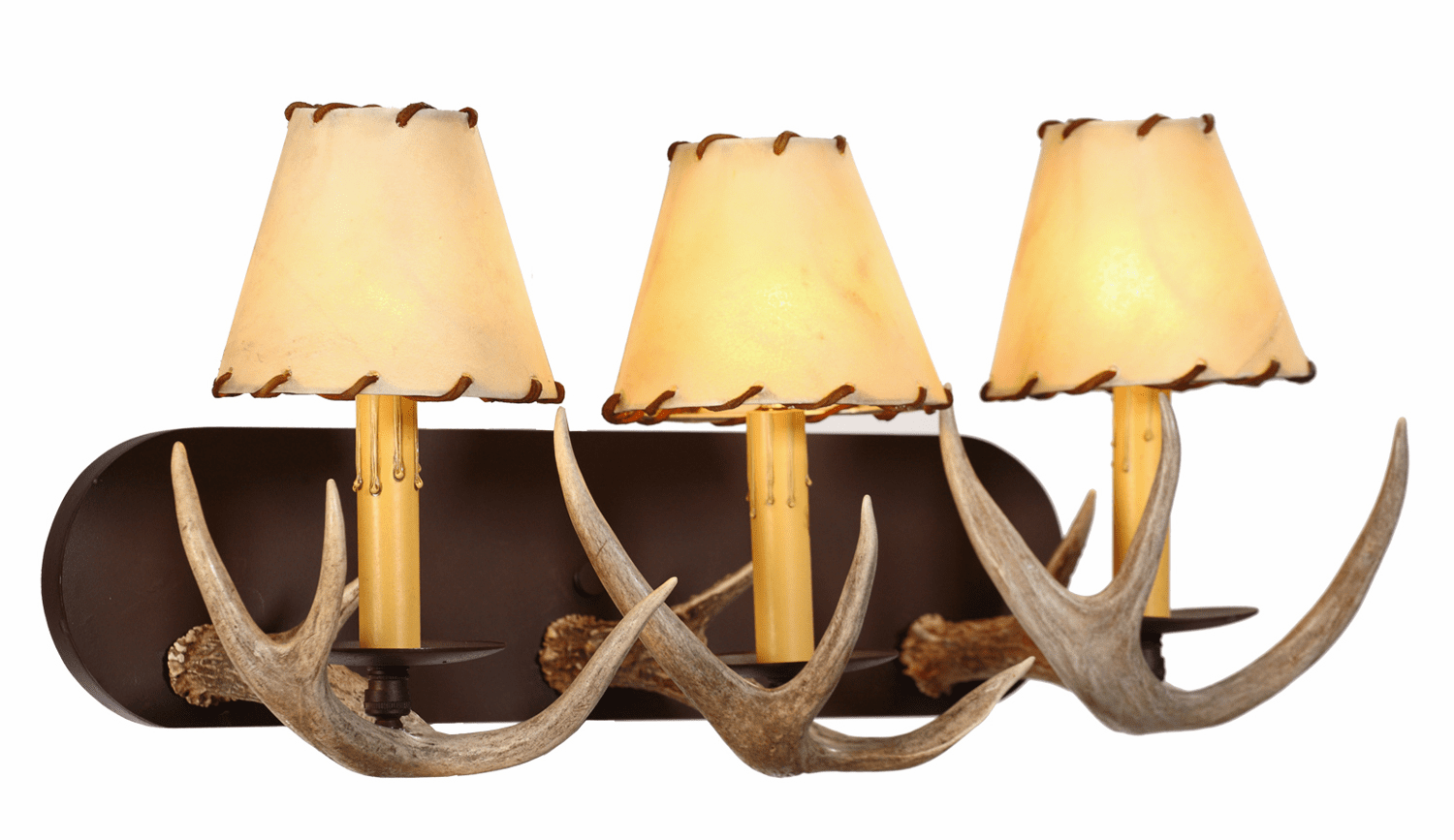 White Tail Antler Vanity Light (Large, Rawhide Shades)