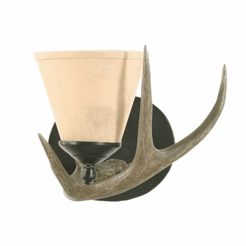 White Tail Antler Wall Sconce (Small, Paper Shade)