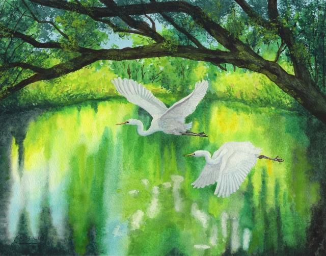 White Wings Over Emerald Water