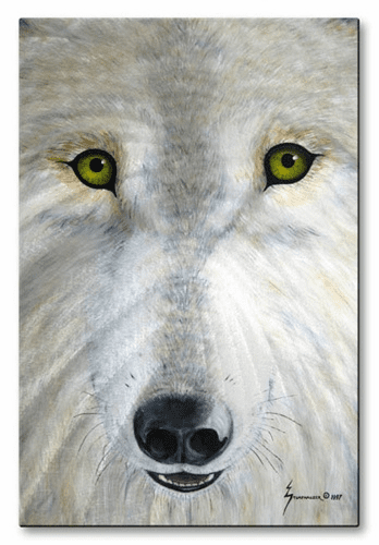 White Wolf Face Wall Sculpture