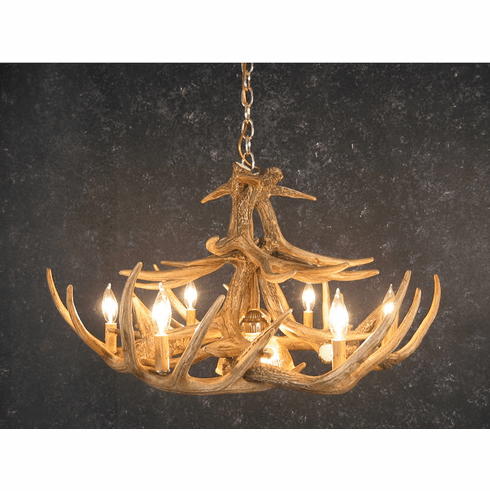 Whitetail Deer 12 Antler Chandelier With Center Light Faux Antlers