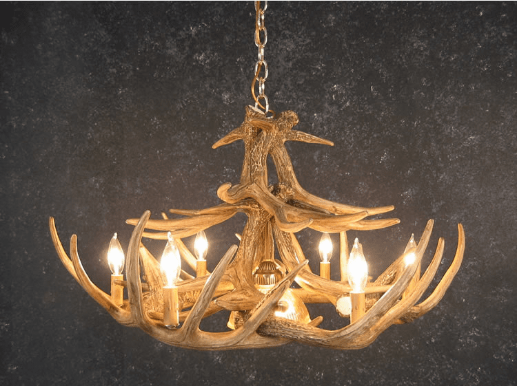 Whitetail Deer 12 Antler Chandelier with Center Light - Faux Antlers