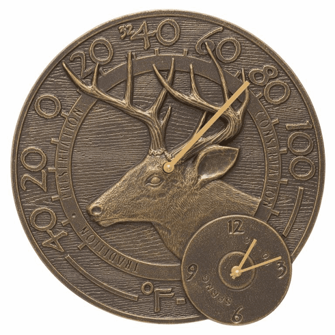 Whitetail Deer 14 inches Indoor Outdoor Wall Clock & Thermometer - French Bronze