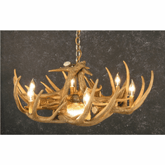 Whitetail deer antler chandeliers whitetail deer 6 antler chandelier wcenter light rustic light mozeypictures Gallery