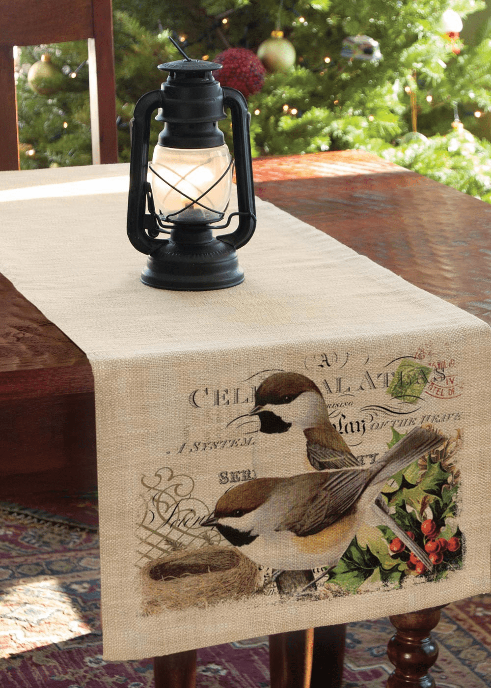 Winter Garden Chickadees Large Runner