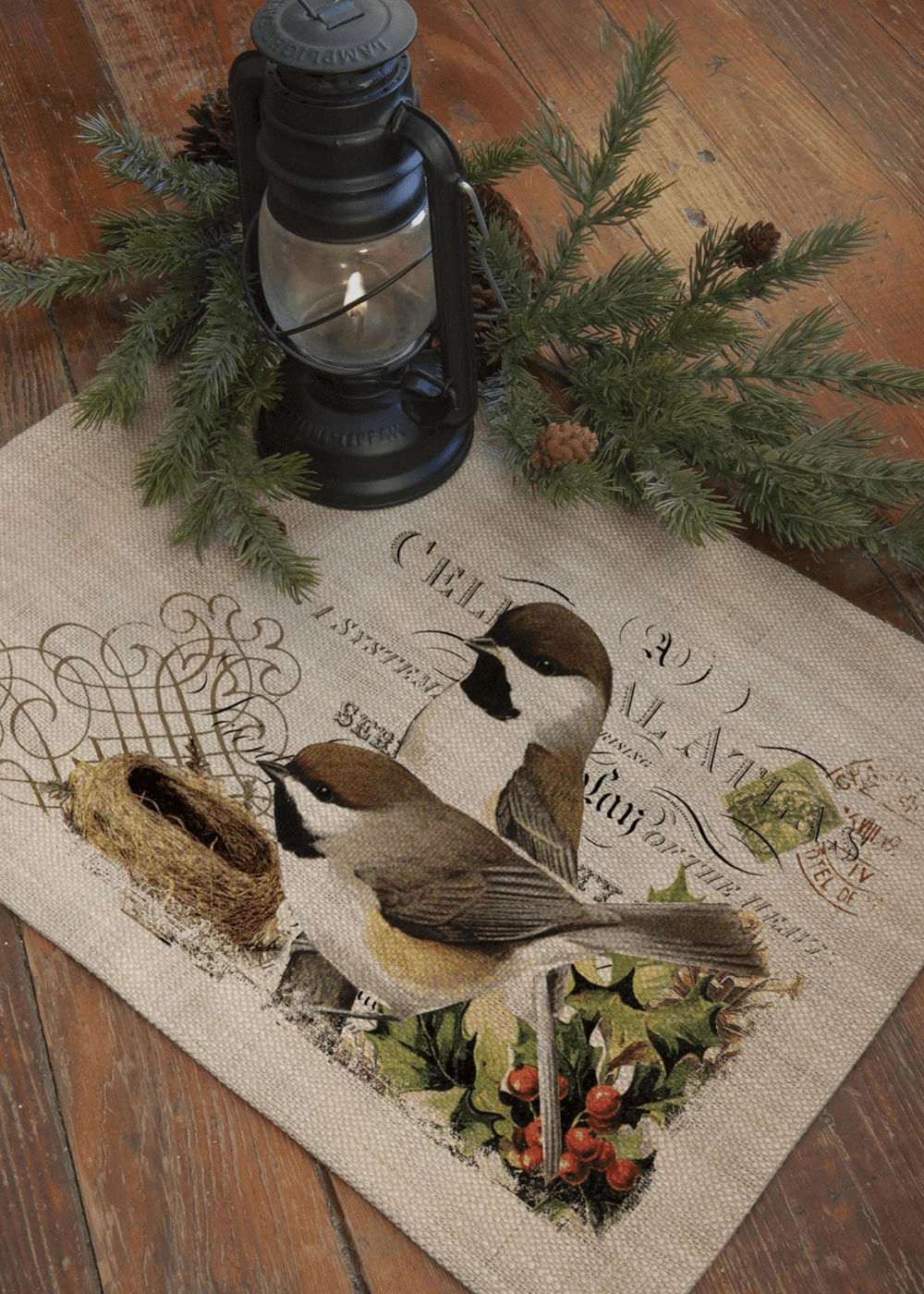 Winter Garden Chickadees Placemat, set of 4
