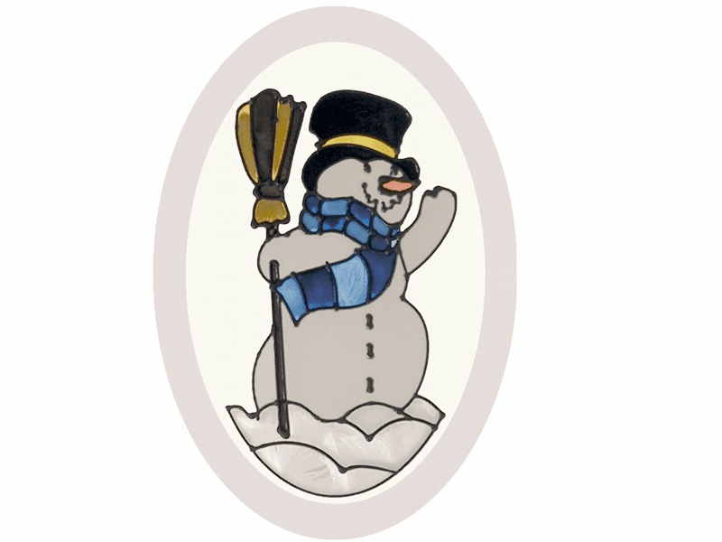 Winter Snowman Stained Glass Art Glass