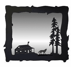 Wolf and Cabin Big Horizontal Mirror