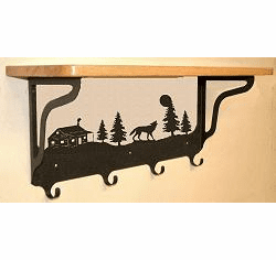Wolf and Cabin Coat Hook with Shelf