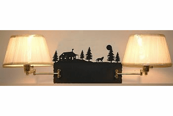 Wolf and Cabin Double Swing Arm Wall Lamp