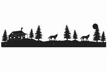 Wolf and Cabin Rustic Scenery Wall Art - 3 sizes
