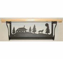 Wolf and Cabin Rustic Towel Bar with Shelf