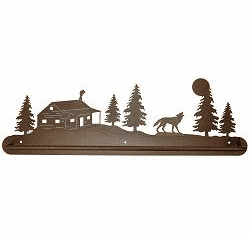 Wolf and Cabin Scenery Towel Bar