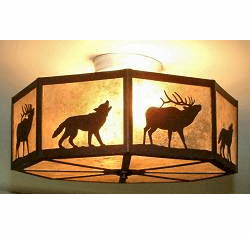 Wolf and Elk Octagon Ceiling Light