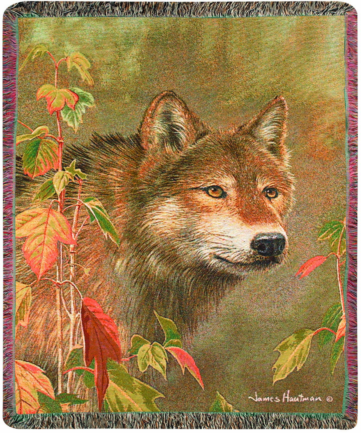 Wolf Hidden In the Mist Tapestry Throw