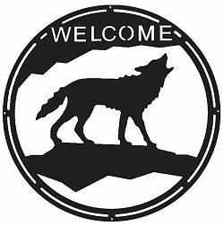 Wolf Round Welcome Sign