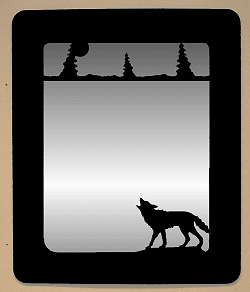 Wolf Theme Rounded Mirror - Rustic Wall Decor