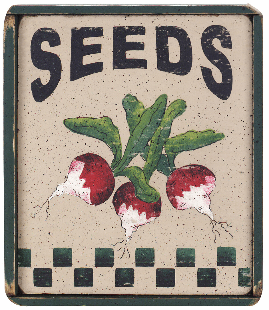 Wooden Sign Seeds Radish