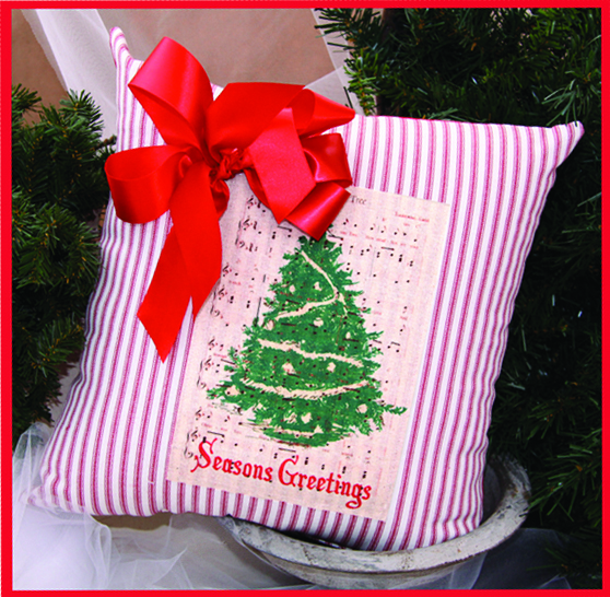 X-Mas Tree Greetings Merry Christmas Ribboned Pillow, 14in x 14in
