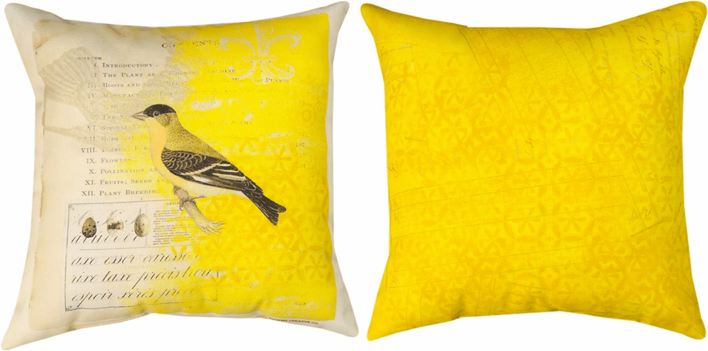Yellow Bird in Aviary Climaweave Reversible Pillow