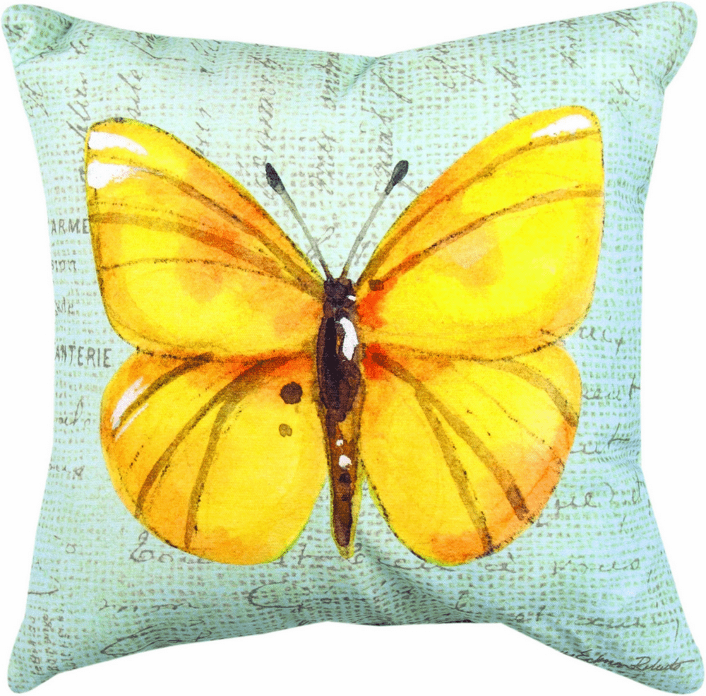 Yellow Butterfly Wings Climaweave Pillow