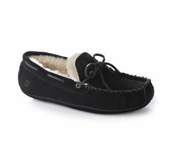 ACORN Men's Sheepskin Moxie Moc Slipper - Black