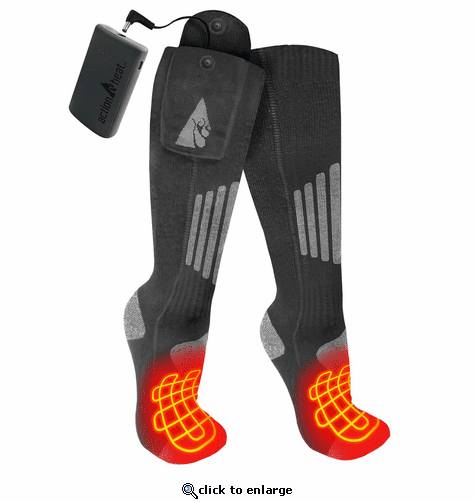 ActionHeat Cotton 3.7V Rechargeable Heated Socks 2.0 with Remote