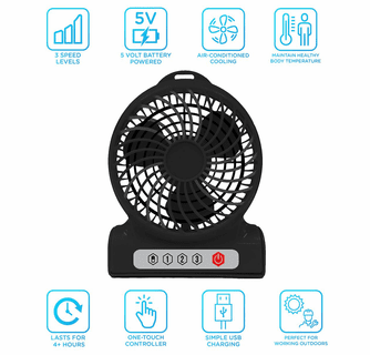 AlphaCool Rechargeable Battery Operated Fan - 4 Inch