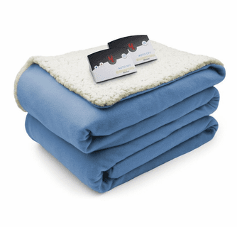 Biddeford Blankets Comfort Knit/Sherpa Electric Heated Blanket with Digital Controller - King