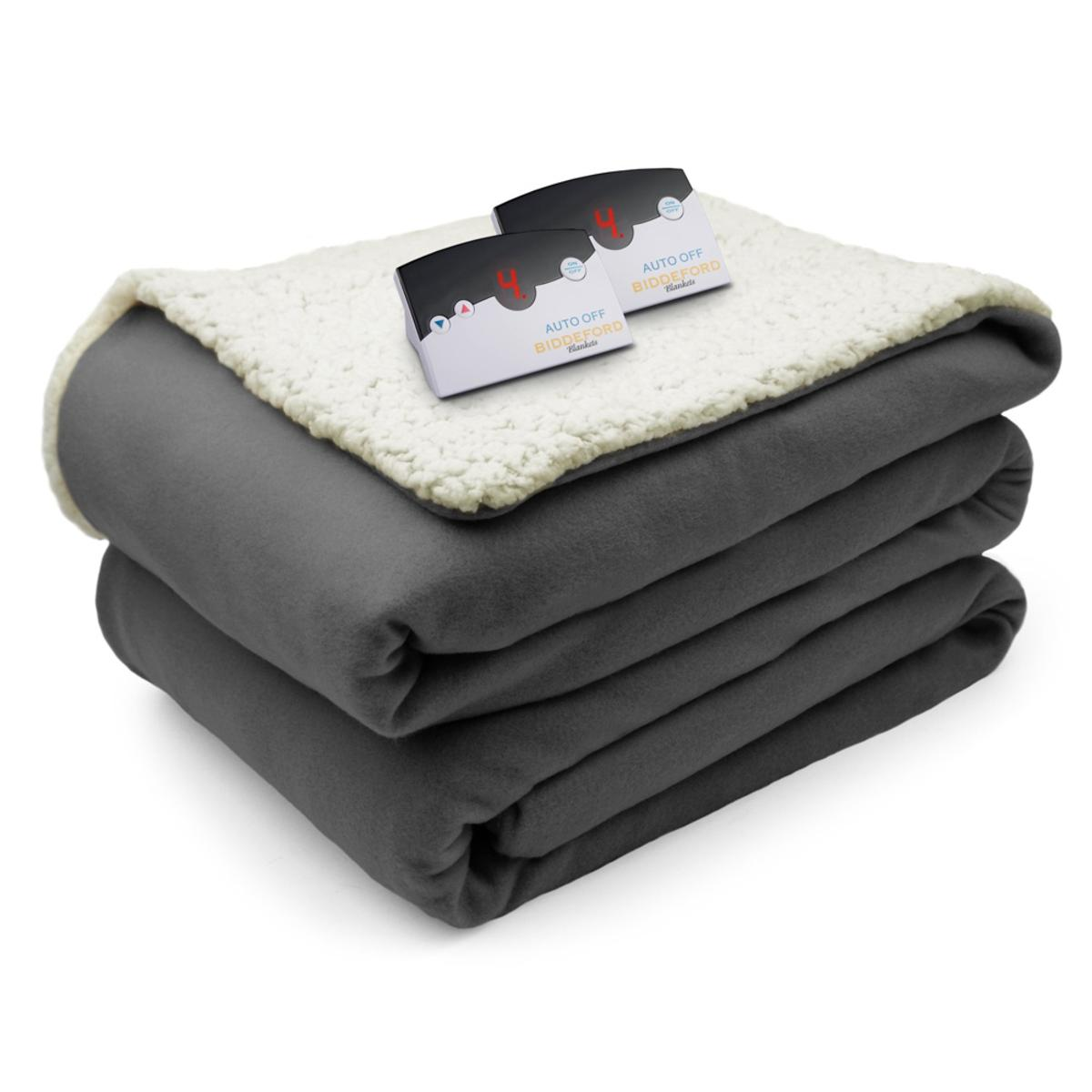 Biddeford Blankets Comfort Knit Sherpa Electric Heated Blanket With Digital Controller King My Cooling Store