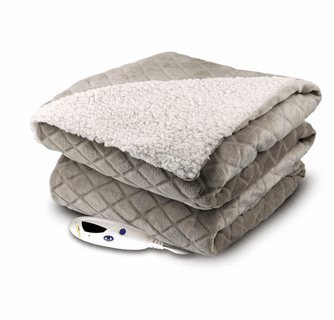 Biddeford Blankets Velour Diamond Embossed/Sherpa Electric Heated Throw with Digital Controller
