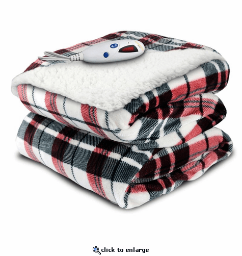 Biddeford Blankets Velour/Sherpa Electric Heated Throw with Digital Controller