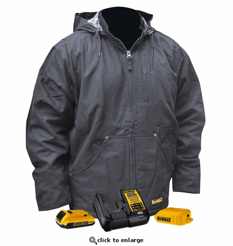 DeWalt 20V MAX XR Lithium Ion Heavy Duty Heated Work Jacket with Battery Kit