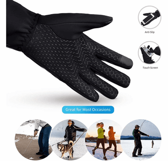 Dr.Warm Unisex Windproof Touchscreen Anti-Skip Rechargeable Heated Gloves Liners