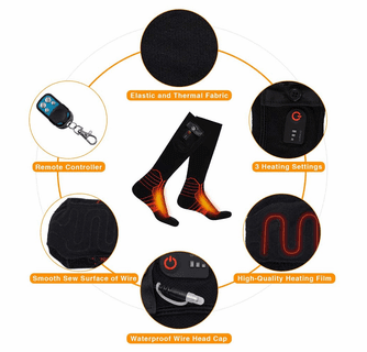 Dr.Warm Wireless Heated Socks, Remote Control Rechargeable Battery Thermal Foot Warmers