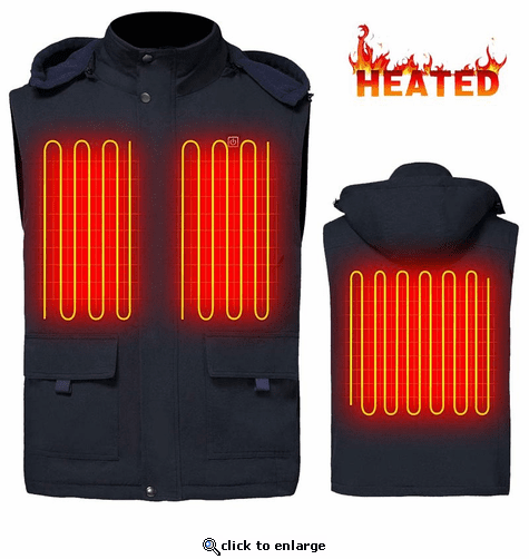 Global Vasion 7.4V Electric Heated Hood Vest with Rechargeable Battery