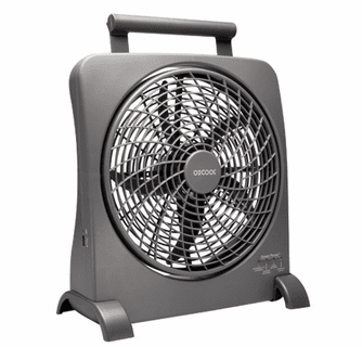 O2 Cool 10-Inch Portable Smart Power Fan with AC Adapter & USB Charging Port